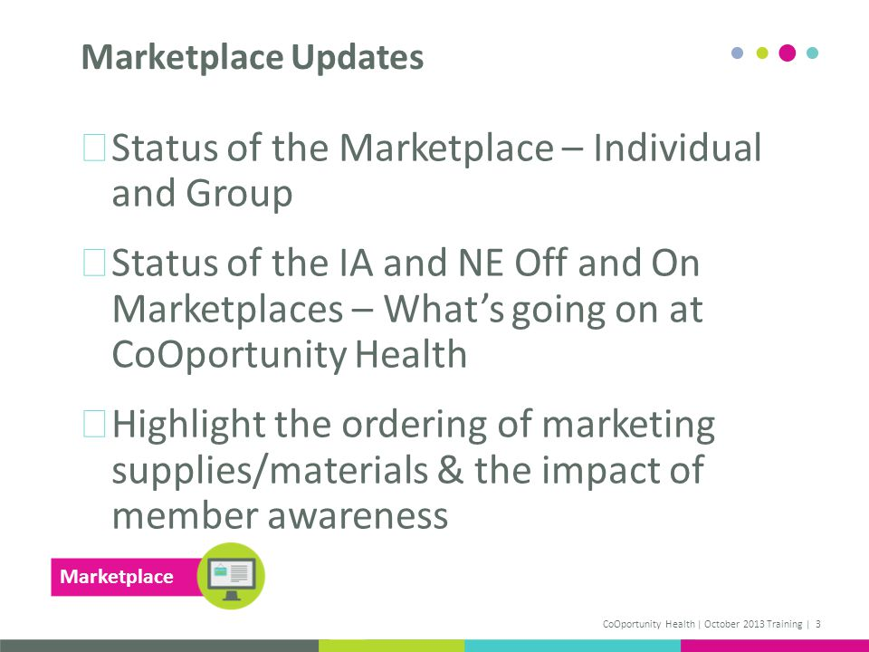 Status of the Marketplace – Individual and Group Status of the IA and NE Off and On Marketplaces – Whats going on at CoOportunity Health Highlight the ordering of marketing supplies/materials & the impact of member awareness Marketplace Updates CoOportunity Health | October 2013 Training | 3