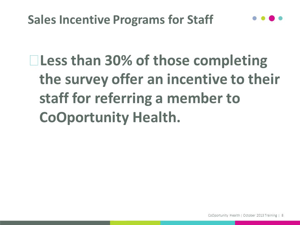 Less than 30% of those completing the survey offer an incentive to their staff for referring a member to CoOportunity Health. Sales Incentive Programs