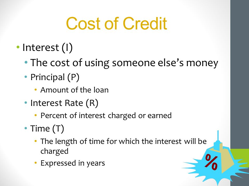 Interest (I) The cost of using someone elses money Principal (P) Amount of the loan Interest Rate (R) Percent of interest charged or earned Time (T) T