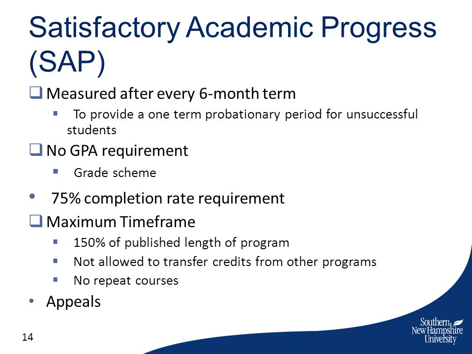 Satisfactory Academic Progress (SAP) Measured after every 6-month term To provide a one term probationary period for unsuccessful students No GPA requ