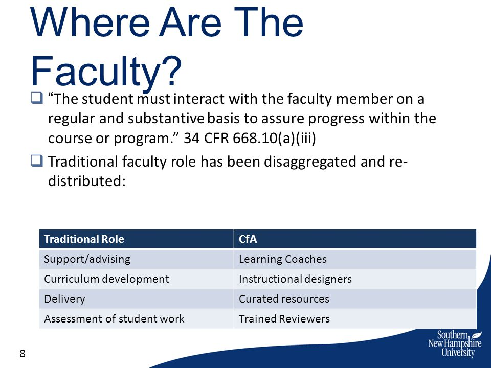Where Are The Faculty? The student must interact with the faculty member on a regular and substantive basis to assure progress within the course or pr