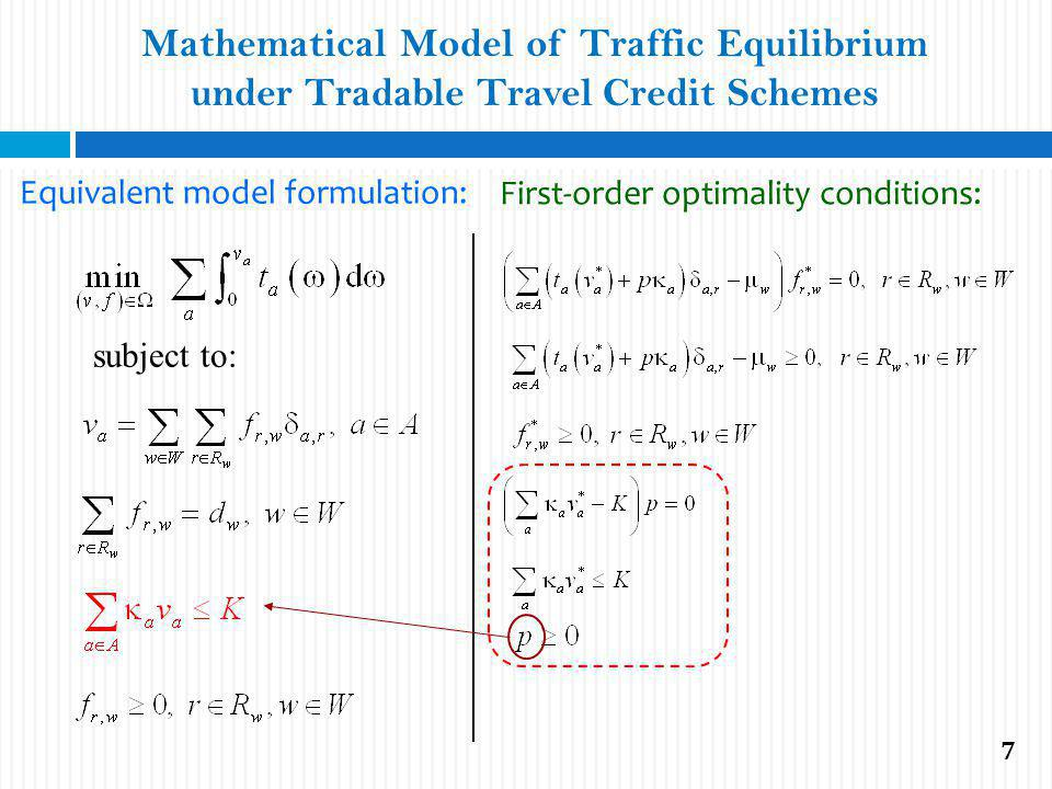Mathematical Model of Traffic Equilibrium under Tradable Travel Credit Schemes Equivalent model formulation: subject to: First-order optimality conditions: 7
