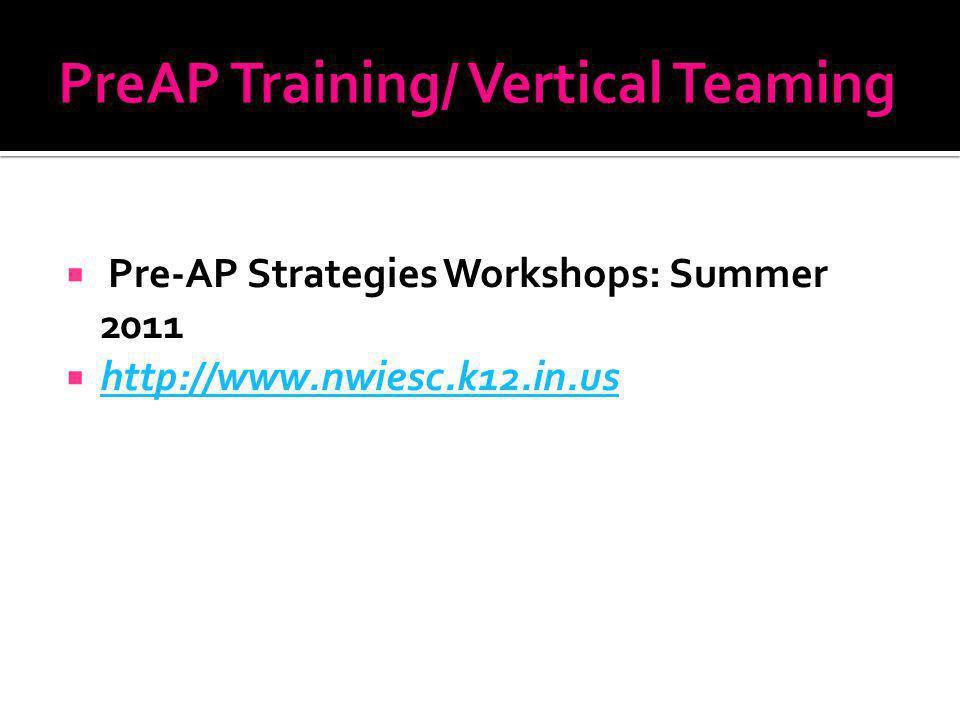 Pre-AP Strategies Workshops: Summer 2011 http://www.nwiesc.k12.in.us