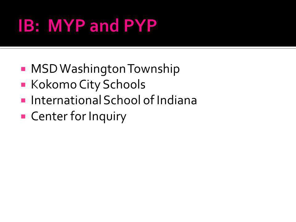 MSD Washington Township Kokomo City Schools International School of Indiana Center for Inquiry