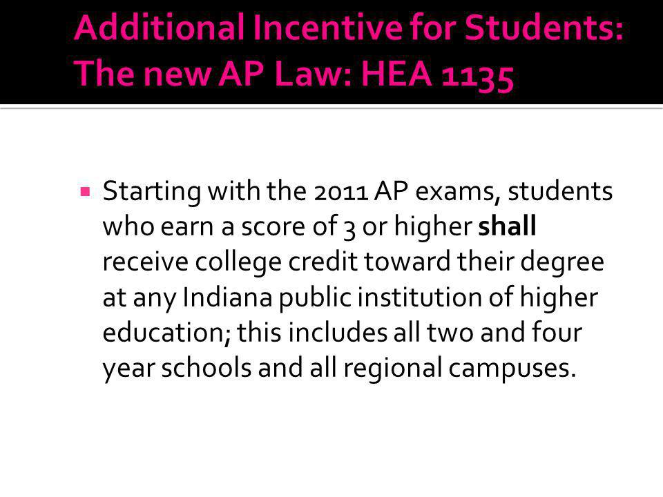 Under this law, Indiana can expect an additional 10,000 AP qualifying exam scores of 3 earned by thousands of students to receive around 44,000 college credit hours.