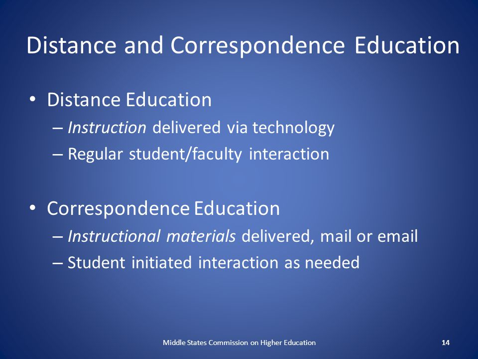 Distance and Correspondence Education Distance Education – Instruction delivered via technology – Regular student/faculty interaction Correspondence E