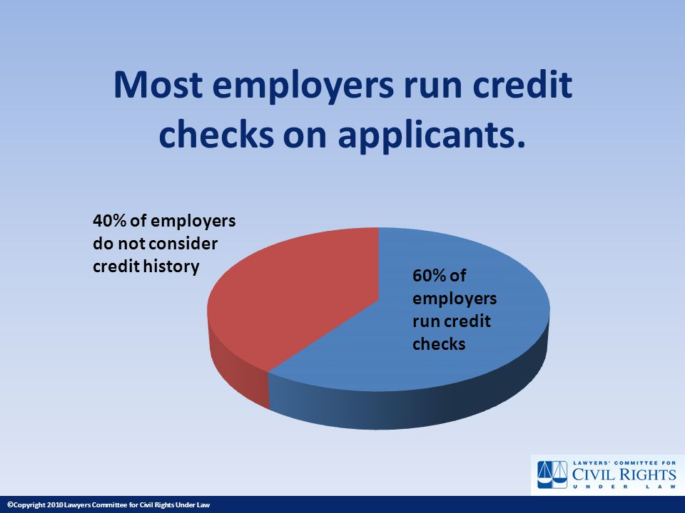 Most employers run credit checks on applicants. 60% of employers run credit checks 40% of employers do not consider credit history ©Copyright 2010 Law