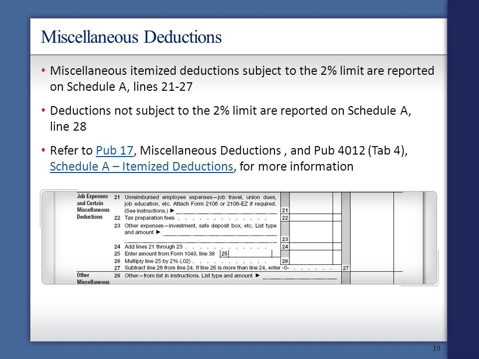 Miscellaneous Deductions Miscellaneous itemized deductions subject to the 2% limit are reported on Schedule A, lines 21-27 Deductions not subject to the 2% limit are reported on Schedule A, line 28 Refer to Pub 17, Miscellaneous Deductions, and Pub 4012 (Tab 4), Schedule A – Itemized Deductions, for more informationPub 17 Schedule A – Itemized Deductions 10