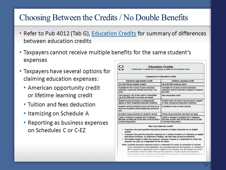 Choosing Between the Credits / No Double Benefits Refer to Pub 4012 (Tab G), Education Credits for summary of differences between education creditsEducation Credits Taxpayers cannot receive multiple benefits for the same students expenses Taxpayers have several options for claiming education expenses: American opportunity credit or lifetime learning credit Tuition and fees deduction Itemizing on Schedule A Reporting as business expenses on Schedules C or C-EZ 26