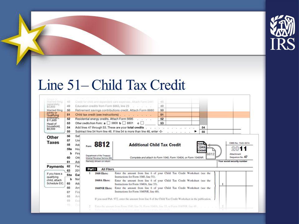 Line 51– Child Tax Credit
