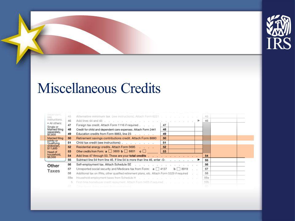 Miscellaneous Credits