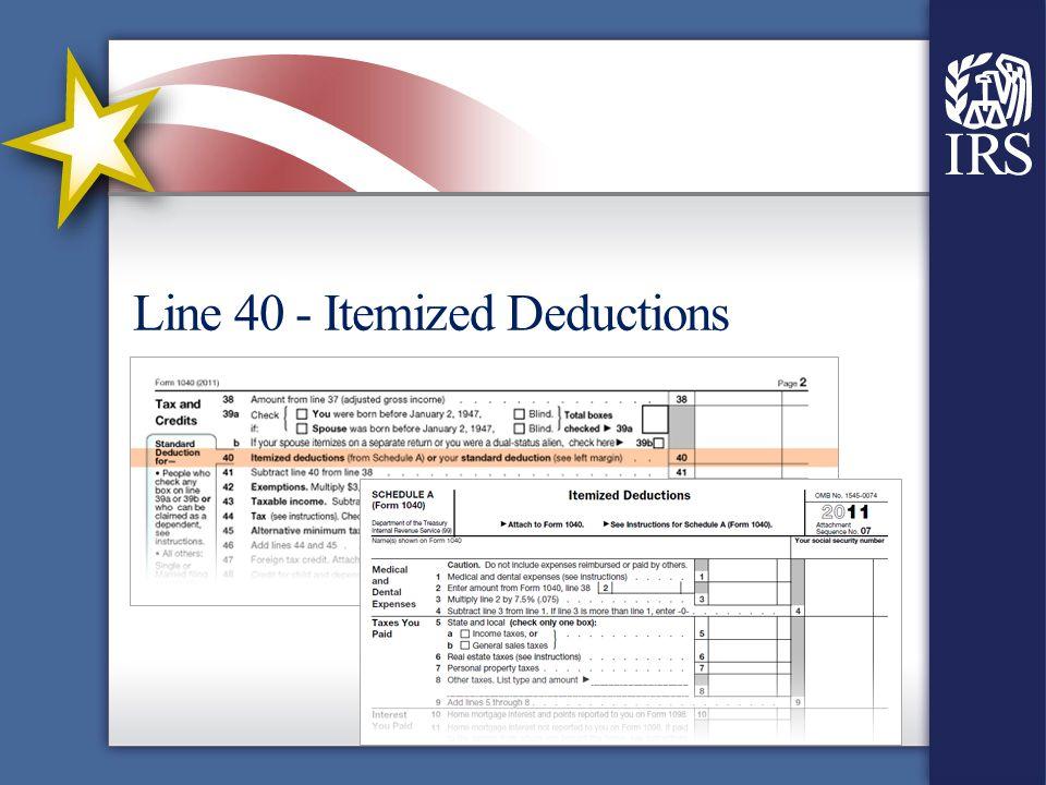 Line 40 - Itemized Deductions