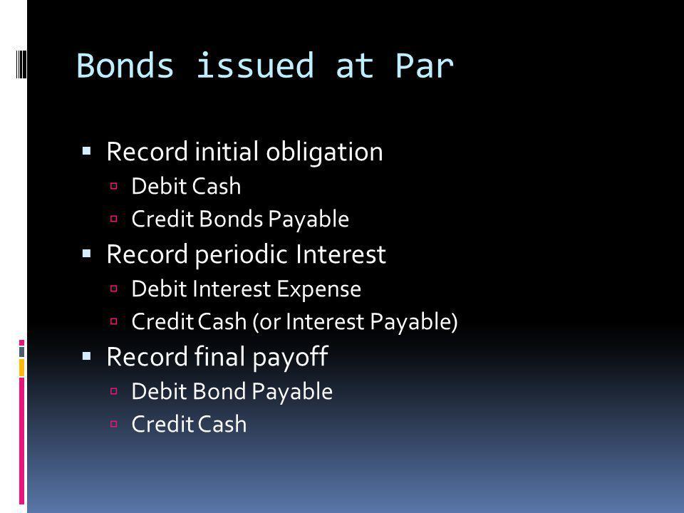 Bonds issued at Par Record initial obligation Debit Cash Credit Bonds Payable Record periodic Interest Debit Interest Expense Credit Cash (or Interest