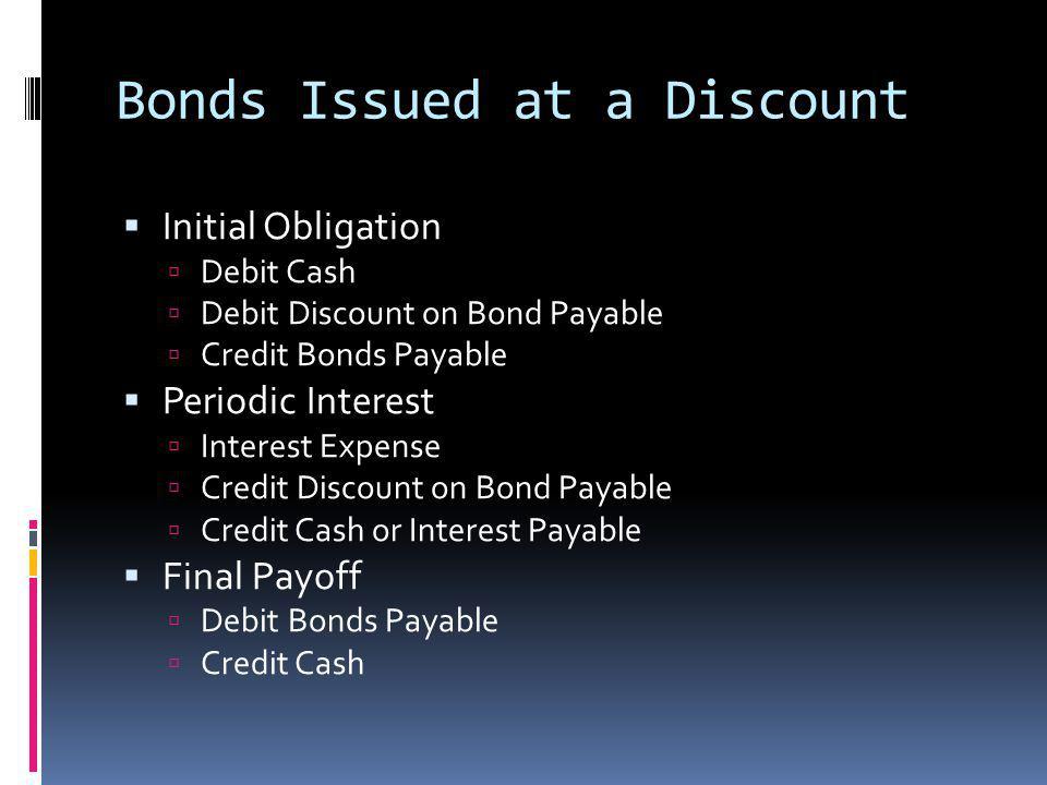 Bonds Issued at a Discount Initial Obligation Debit Cash Debit Discount on Bond Payable Credit Bonds Payable Periodic Interest Interest Expense Credit