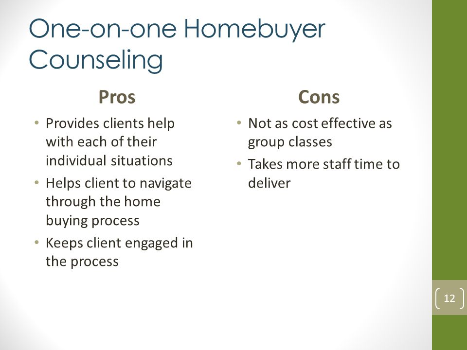 One-on-one Homebuyer Counseling Pros Provides clients help with each of their individual situations Helps client to navigate through the home buying process Keeps client engaged in the process Cons Not as cost effective as group classes Takes more staff time to deliver 12