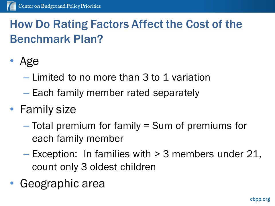 Center on Budget and Policy Priorities cbpp.org How Do Rating Factors Affect the Cost of the Benchmark Plan.