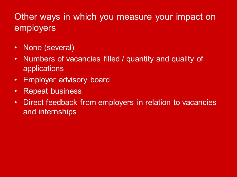 Other ways in which you measure your impact on employers None (several) Numbers of vacancies filled / quantity and quality of applications Employer advisory board Repeat business Direct feedback from employers in relation to vacancies and internships