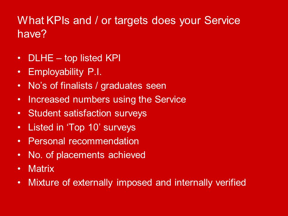 What KPIs and / or targets does your Service have.