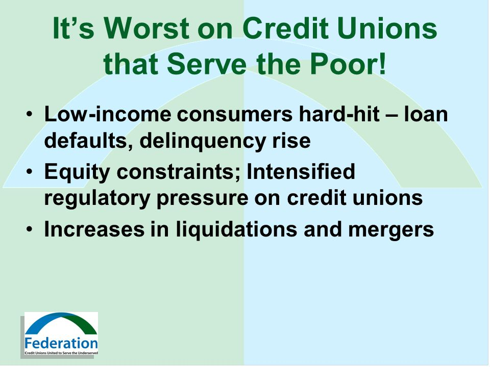 Its Worst on Credit Unions that Serve the Poor.