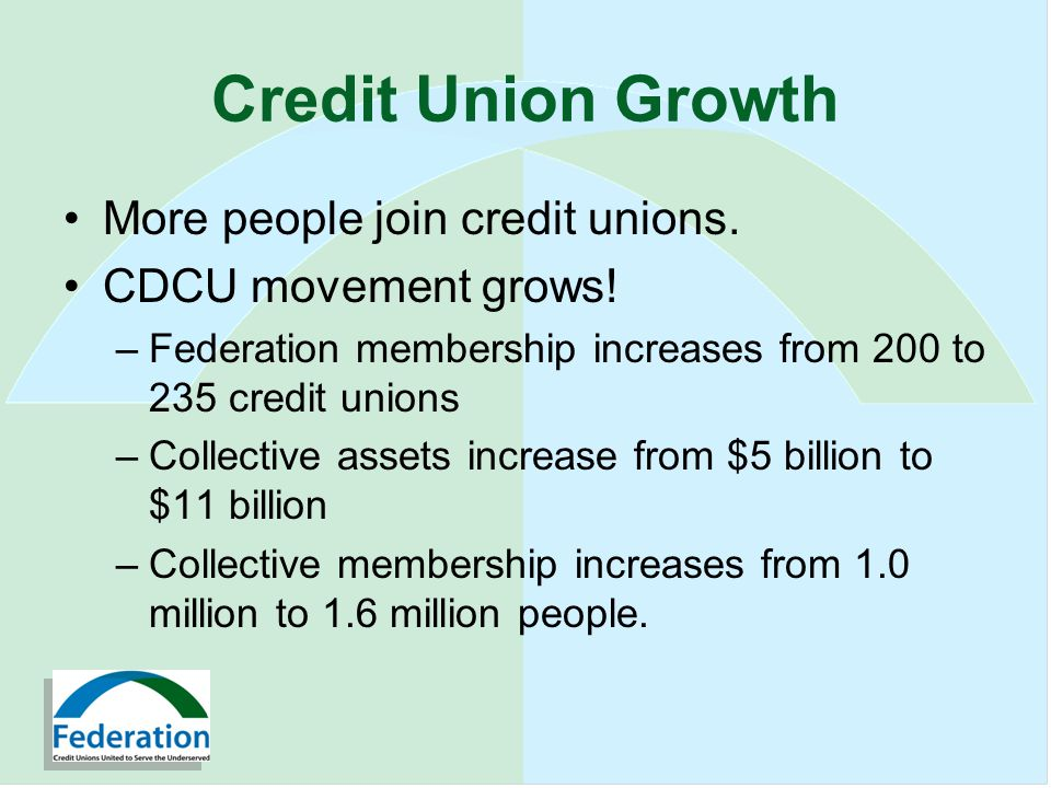 Credit Union Growth More people join credit unions.