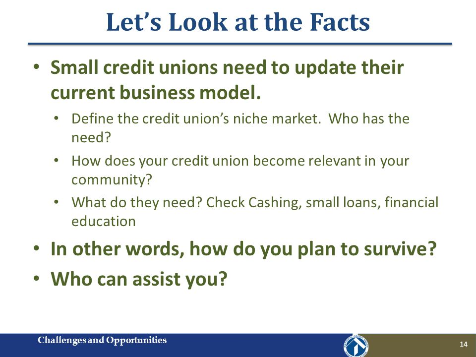 Lets Look at the Facts 14 Small credit unions need to update their current business model. Define the credit unions niche market. Who has the need? Ho