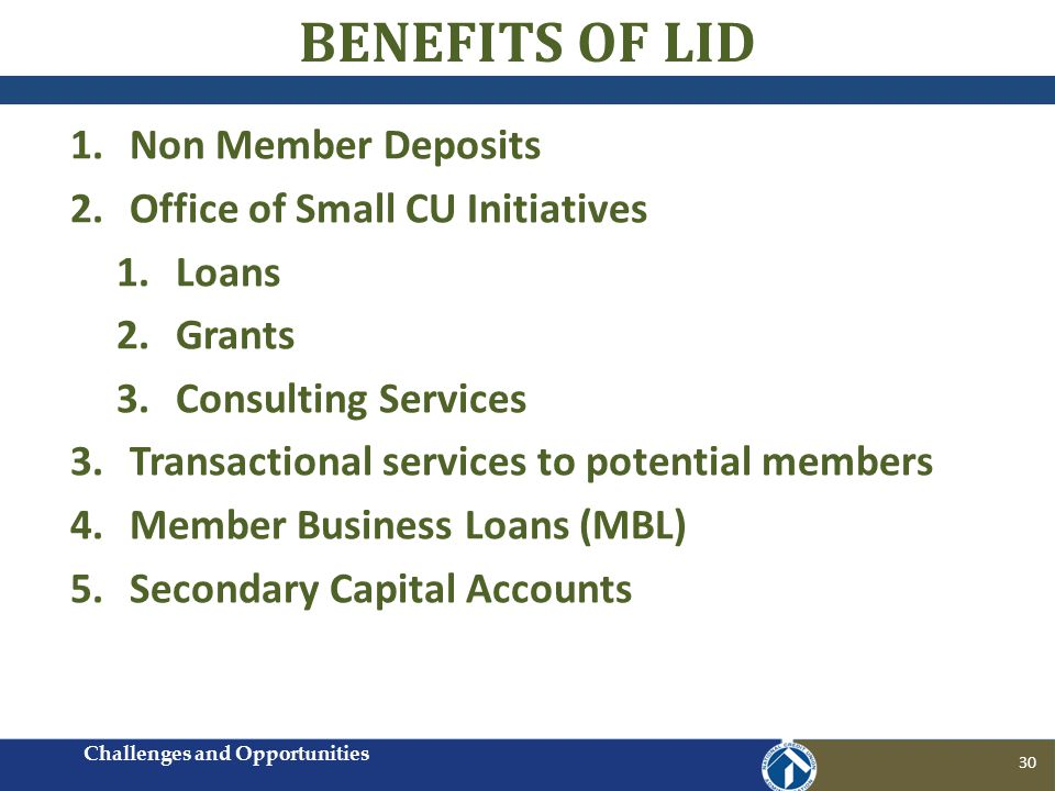 BENEFITS OF LID 1.Non Member Deposits 2.Office of Small CU Initiatives 1.Loans 2.Grants 3.Consulting Services 3.Transactional services to potential me