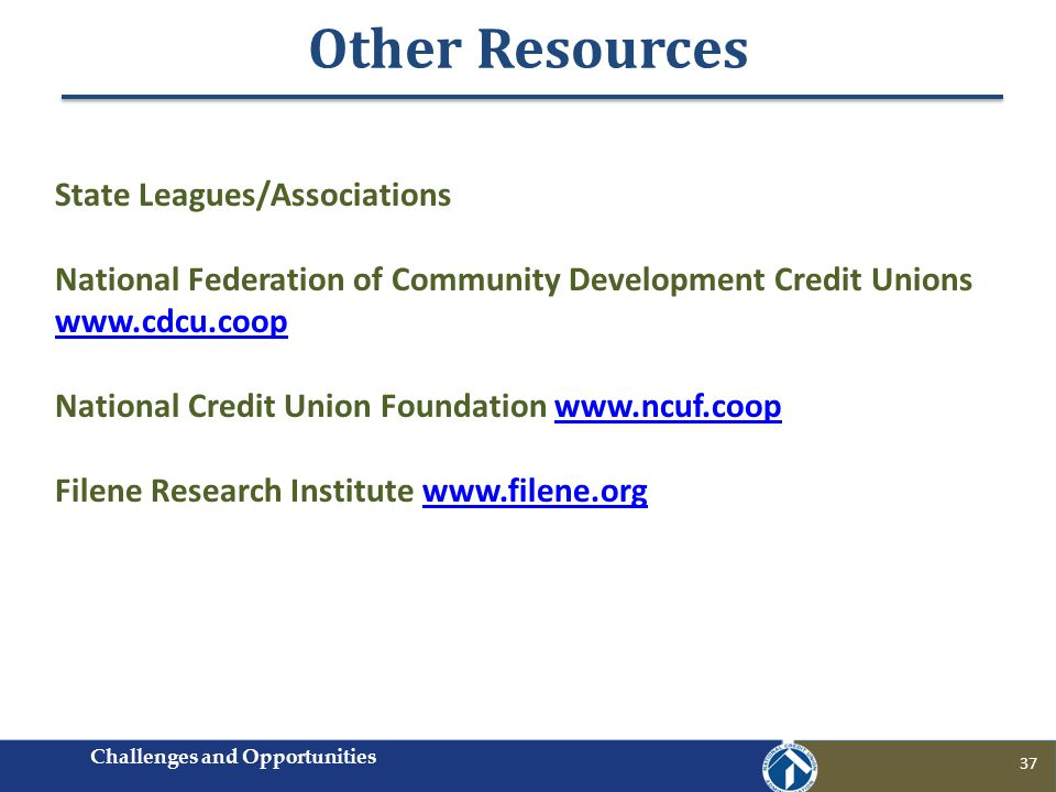 Other Resources 37 State Leagues/Associations National Federation of Community Development Credit Unions www.cdcu.coop www.cdcu.coop National Credit Union Foundation www.ncuf.coopwww.ncuf.coop Filene Research Institute www.filene.orgwww.filene.org Challenges and Opportunities