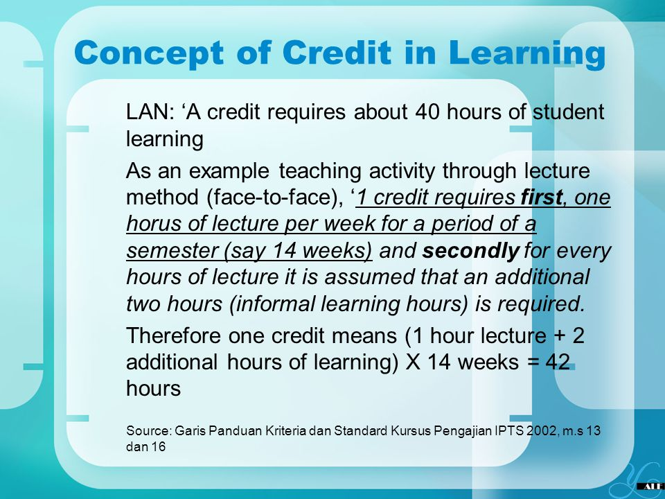 Concept of Credit in Learning LAN: A credit requires about 40 hours of student learning As an example teaching activity through lecture method (face-t