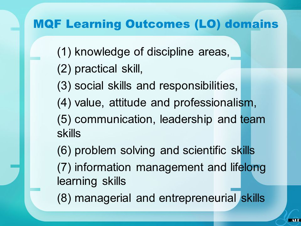 MQF Learning Outcomes (LO) domains (1) knowledge of discipline areas, (2) practical skill, (3) social skills and responsibilities, (4) value, attitude