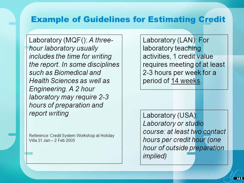 Example of Guidelines for Estimating Credit Laboratory (MQF(): A three- hour laboratory usually includes the time for writing the report. In some disc