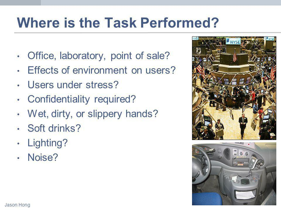 Jason Hong Where is the Task Performed. Office, laboratory, point of sale.
