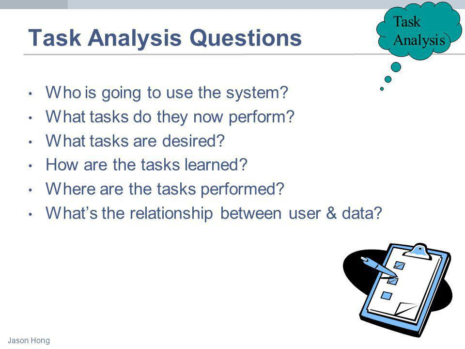 Jason Hong Task Analysis Task Analysis Questions Who is going to use the system.