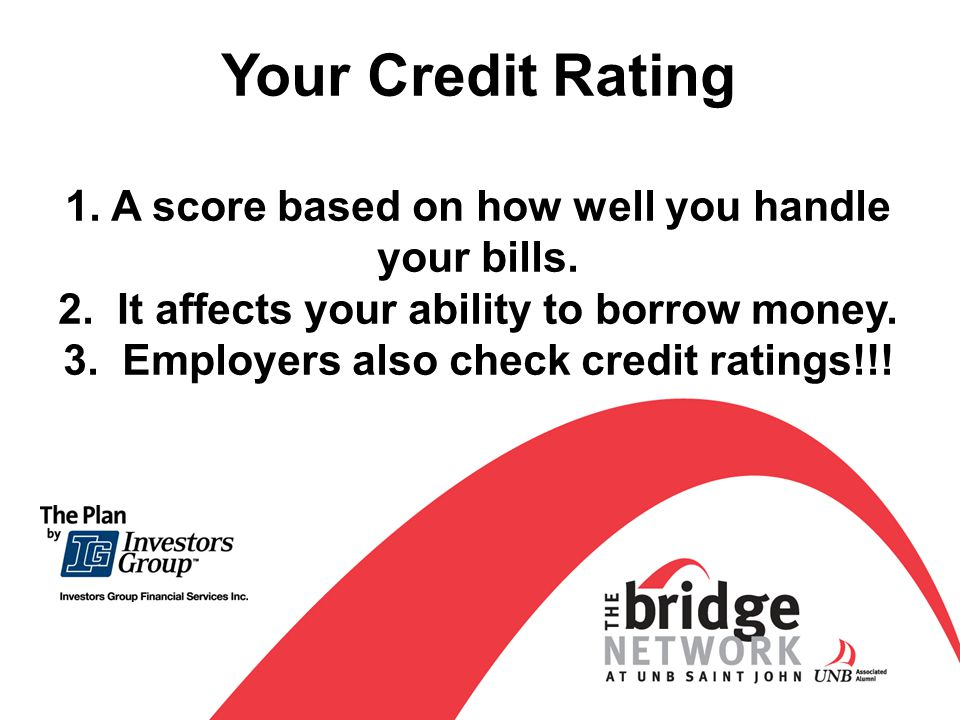 Your Credit Rating 1.A score based on how well you handle your bills.