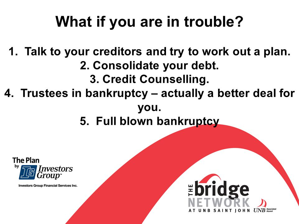 What if you are in trouble.1. Talk to your creditors and try to work out a plan.