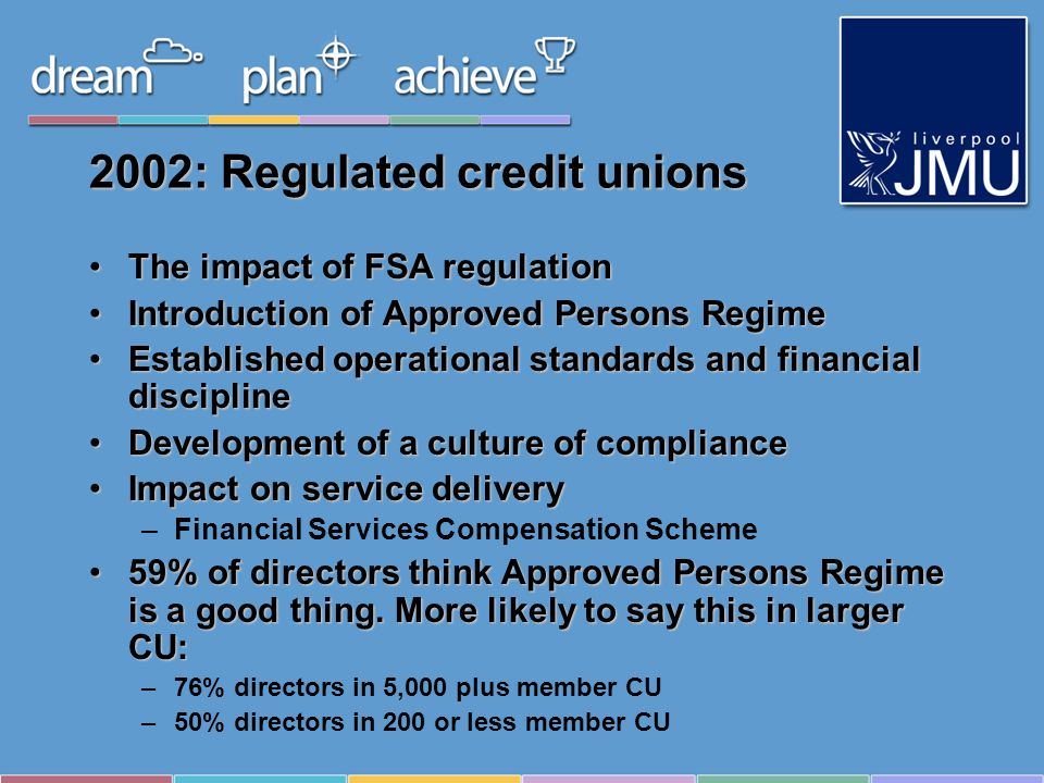 2002: Regulated credit unions The impact of FSA regulationThe impact of FSA regulation Introduction of Approved Persons RegimeIntroduction of Approved Persons Regime Established operational standards and financial disciplineEstablished operational standards and financial discipline Development of a culture of complianceDevelopment of a culture of compliance Impact on service deliveryImpact on service delivery –Financial Services Compensation Scheme 59% of directors think Approved Persons Regime is a good thing.