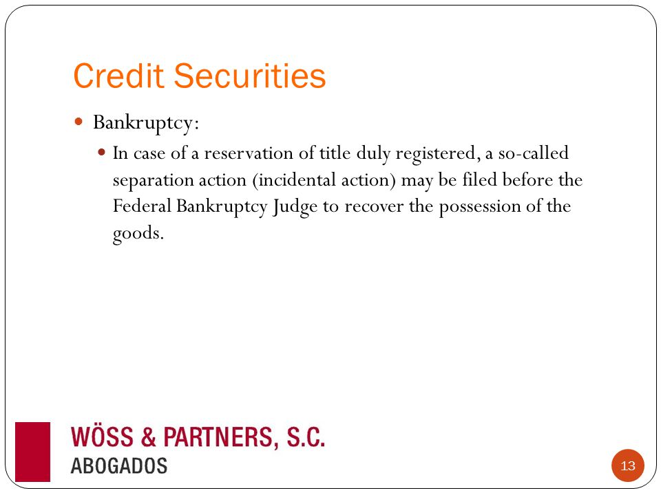 Credit Securities Bankruptcy: In case of a reservation of title duly registered, a so-called separation action (incidental action) may be filed before the Federal Bankruptcy Judge to recover the possession of the goods.