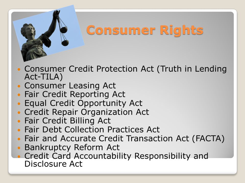 Lets take a QUIZ.3. What is the Fair Credit Reporting Act.