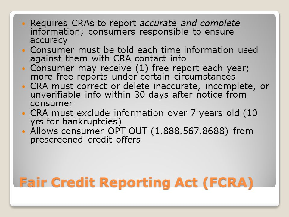 Equal Credit Opportunity Act (ECOA) Requires ALL applicants to be considered on actual qualifications for credit, not personal characteristics Creditors may not refuse to consider income from retirement benefits, PT employment, or alimony/child support Consumer must be notified within (30) days of decision