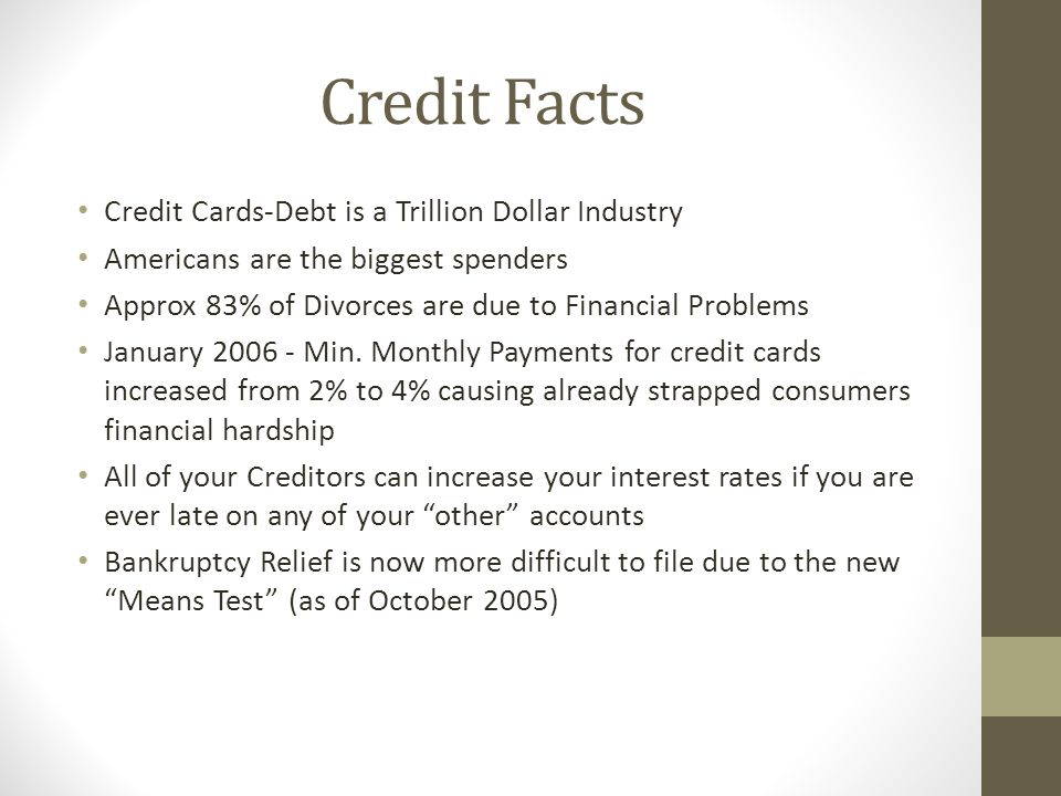 Credit Facts Credit Cards-Debt is a Trillion Dollar Industry Americans are the biggest spenders Approx 83% of Divorces are due to Financial Problems January Min.