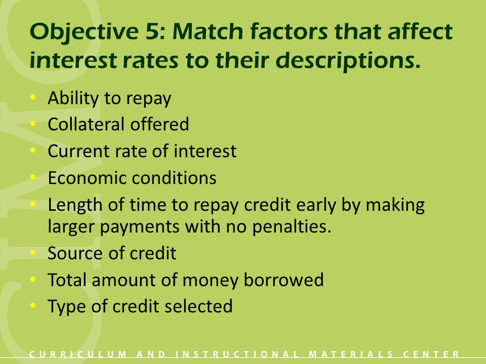 Objective 5: Match factors that affect interest rates to their descriptions. Ability to repay Collateral offered Current rate of interest Economic con