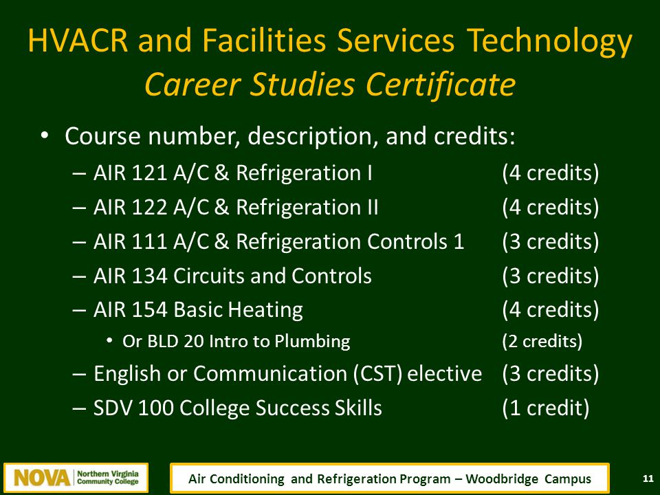 HVACR and Facilities Services Technology Career Studies Certificate Course number, description, and credits: – AIR 121 A/C & Refrigeration I(4 credits) – AIR 122 A/C & Refrigeration II(4 credits) – AIR 111 A/C & Refrigeration Controls 1 (3 credits) – AIR 134 Circuits and Controls (3 credits) – AIR 154 Basic Heating(4 credits) Or BLD 20 Intro to Plumbing(2 credits) – English or Communication (CST) elective (3 credits) – SDV 100 College Success Skills(1 credit) 11 Air Conditioning and Refrigeration Program – Woodbridge Campus