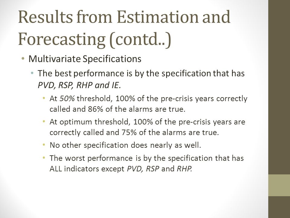 Results from Estimation and Forecasting (contd..) Multivariate Specifications The best performance is by the specification that has PVD, RSP, RHP and IE.