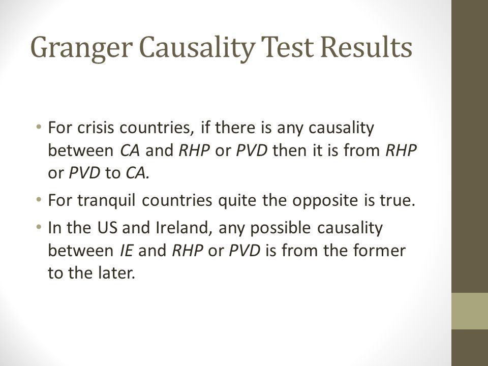 Granger Causality Test Results For crisis countries, if there is any causality between CA and RHP or PVD then it is from RHP or PVD to CA.