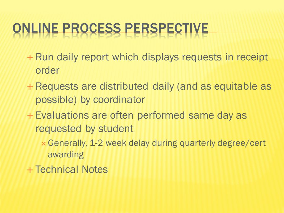 Run daily report which displays requests in receipt order Requests are distributed daily (and as equitable as possible) by coordinator Evaluations are