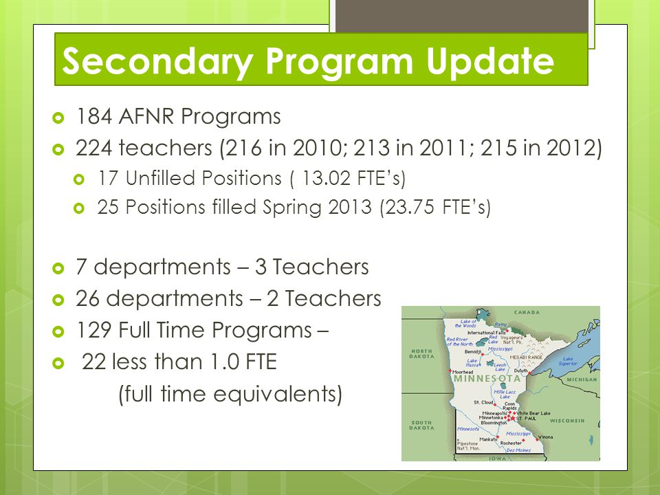 Secondary Program Update 184 AFNR Programs 224 teachers (216 in 2010; 213 in 2011; 215 in 2012) 17 Unfilled Positions ( 13.02 FTEs) 25 Positions filled Spring 2013 (23.75 FTEs) 7 departments – 3 Teachers 26 departments – 2 Teachers 129 Full Time Programs – 22 less than 1.0 FTE (full time equivalents)