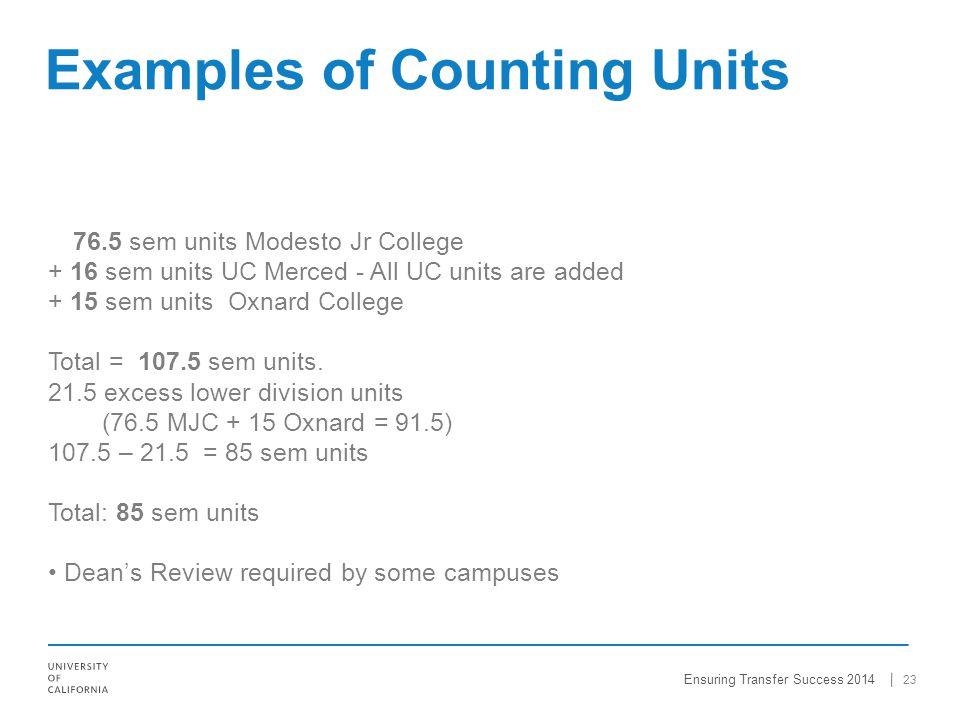 76.5 sem units Modesto Jr College + 16 sem units UC Merced - All UC units are added + 15 sem units Oxnard College Total = 107.5 sem units.