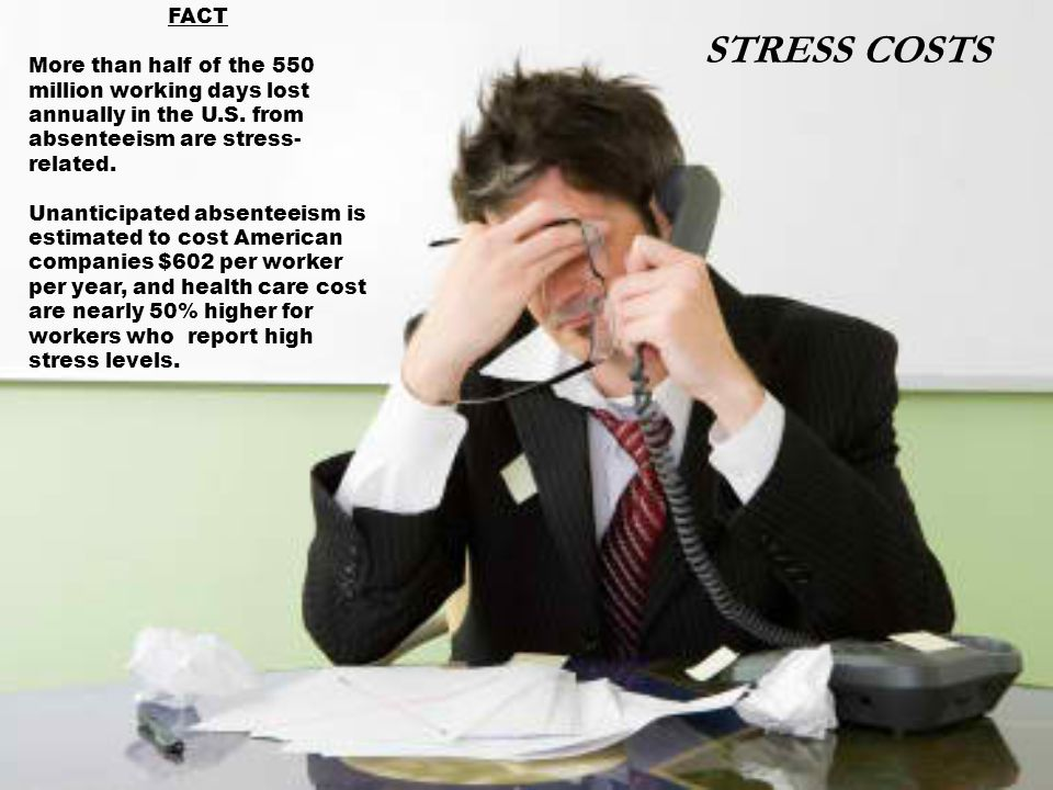 FACT More than half of the 550 million working days lost annually in the U.S.