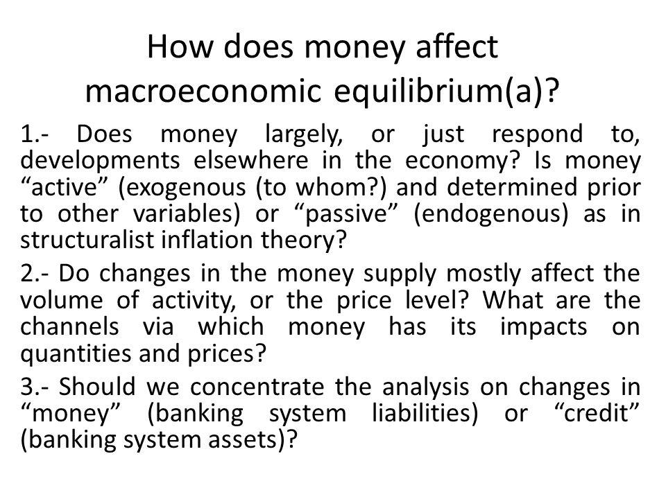 How does money affect macroeconomic equilibrium(a).