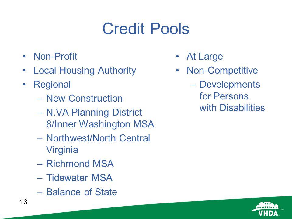 13 Credit Pools Non-Profit Local Housing Authority Regional –New Construction –N.VA Planning District 8/Inner Washington MSA –Northwest/North Central
