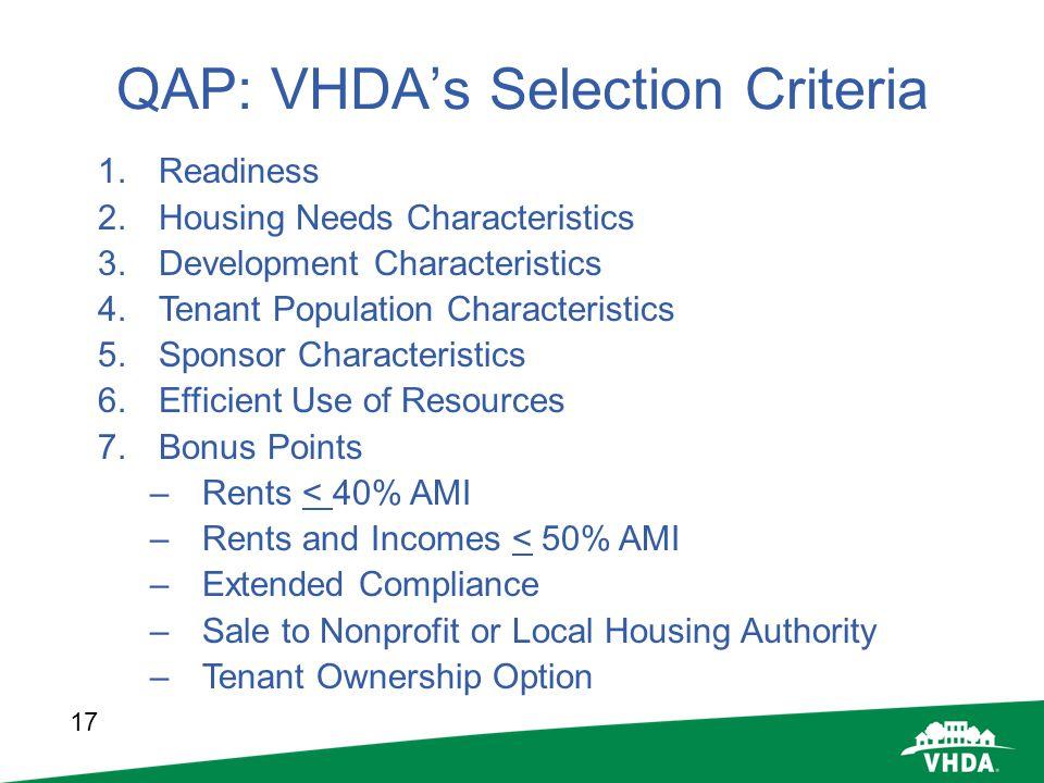 17 QAP: VHDAs Selection Criteria 1.Readiness 2.Housing Needs Characteristics 3.Development Characteristics 4.Tenant Population Characteristics 5.Spons